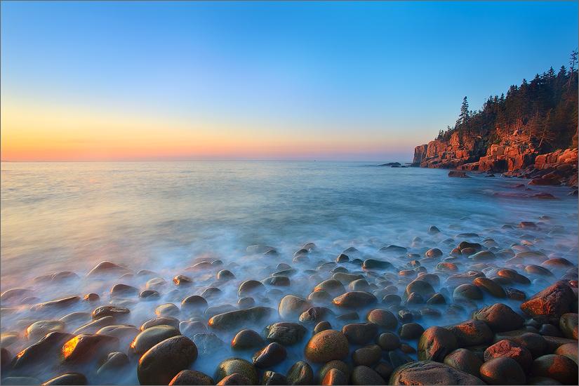 Acadia national park, Maine, sunrise, granite, cobble stones, otter cliffs