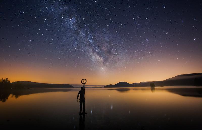 Milky Way, Night, Quabbin Reservoir, Massachusetts, lake, reflection, stars, peace, , photo