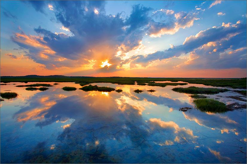 Plum island, Newburyport, Massachusetts, reflection, sunset, salt pannes