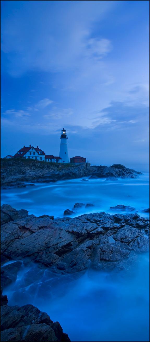 Portland head light, cape Elizabeth, Maine, lighthouse, blue, photo