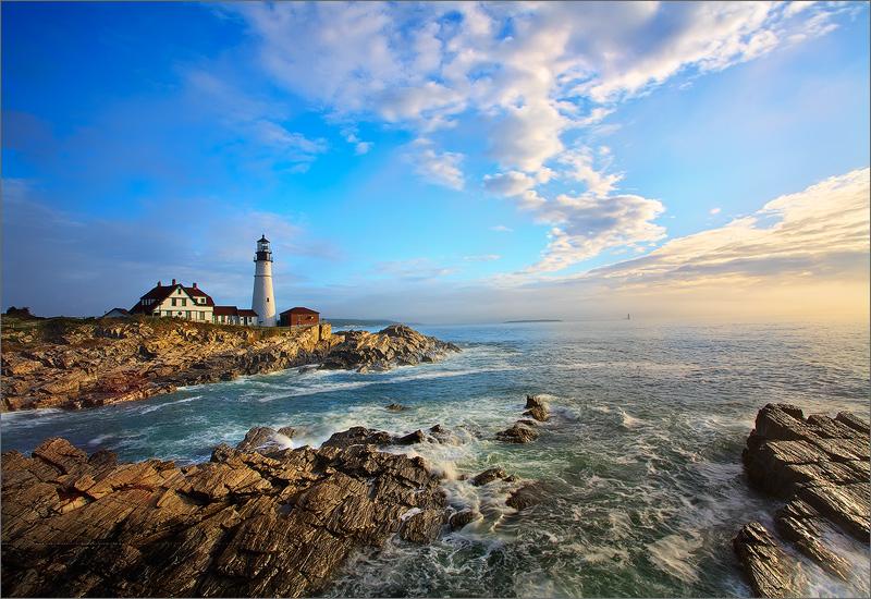 Portland head light, Maine, lighthouse, sunrise, ocean, photo