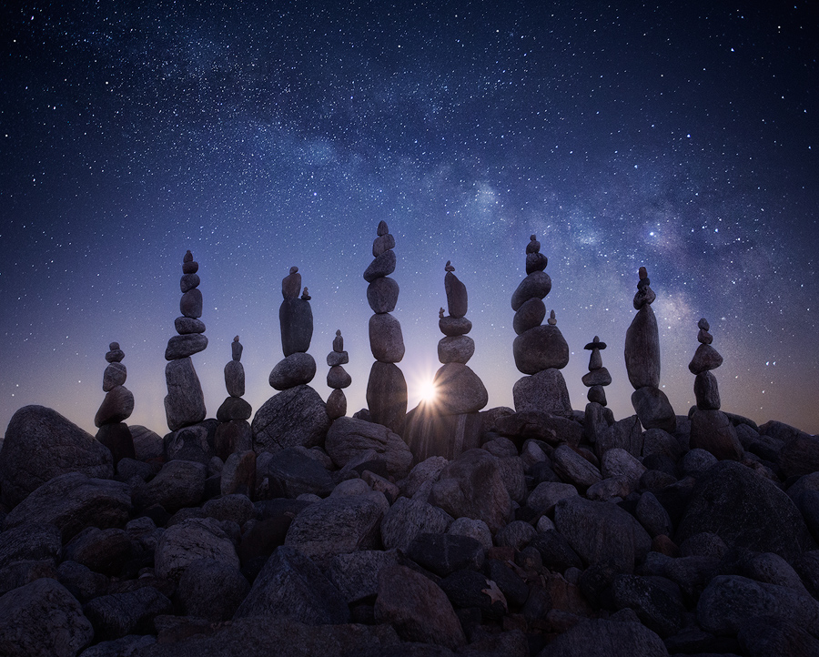stone stacking, milkyway, night photography, quabbin reservoir, Massachusetts, patrick zephyr, moonrise, stars, photo