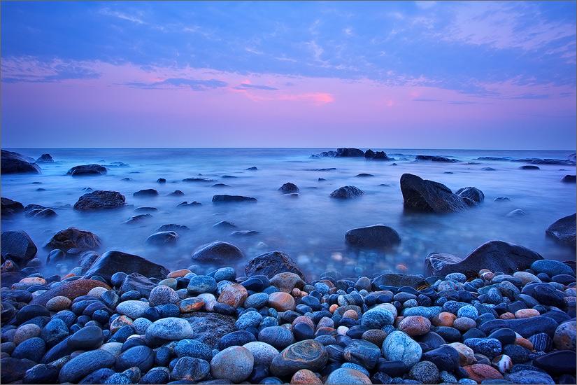 Sunset, New Hampshire, rocks,