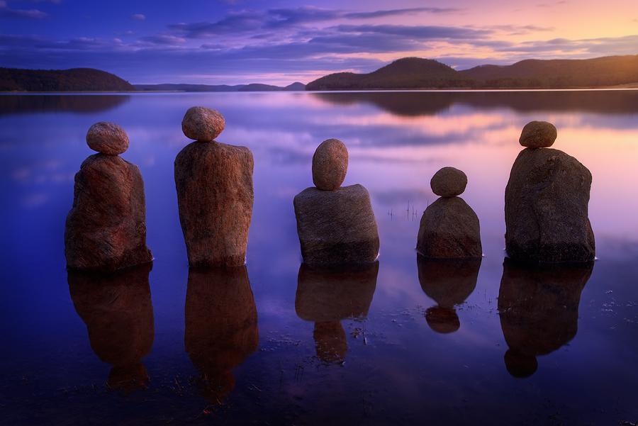 quabbin reservoir, massachusetts, sunset, cairns, rocks,, photo