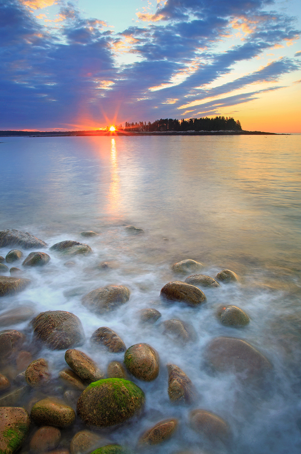 Schoodic peninsula, Maine, sunrise, island, surf, ocean, rocks, photo
