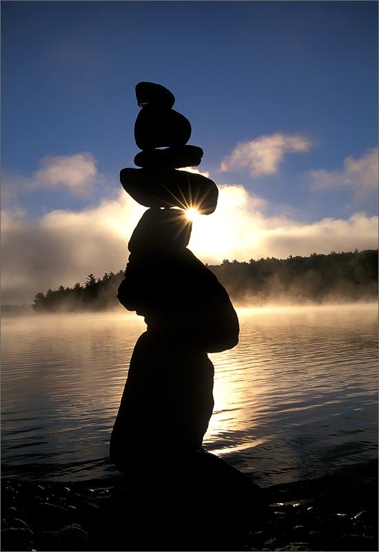Rock cairn, quabbin reservoir, Massachusetts, sunrise, fog