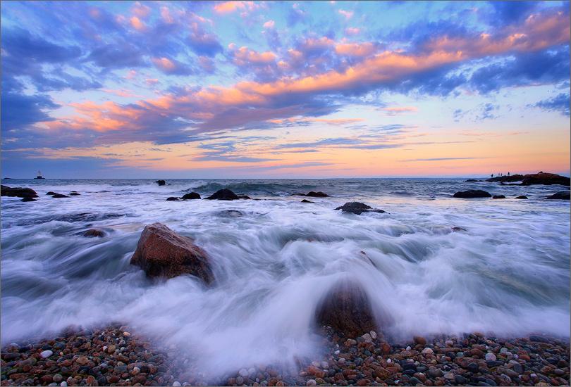 Sackonett point, Rhode Island, ocean, surf, sunrise