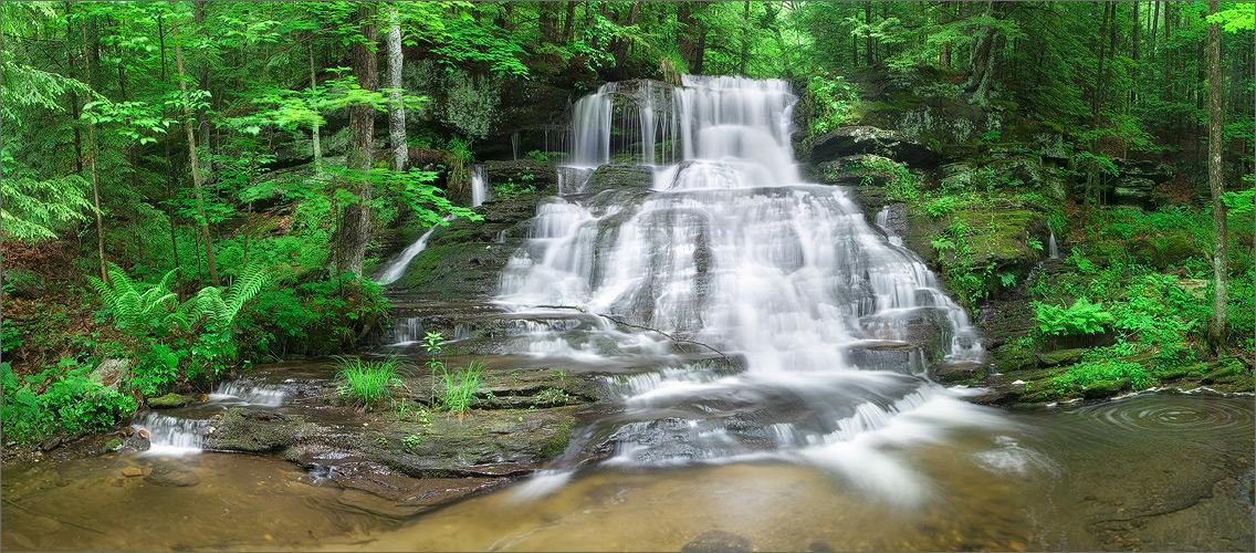 Waterfall, montage, Massachusetts, summer