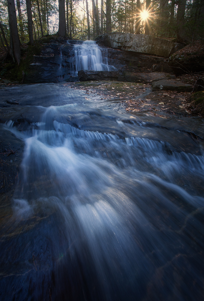 waterfall, stream, sunrise, dawn, massachusetts, patrick zephyr, Pelham, cascade, landscape photography, nature photography, photo