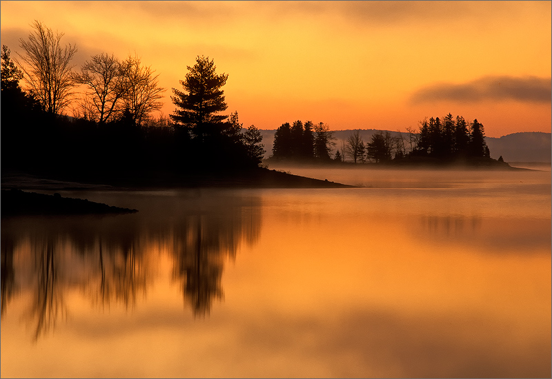 quabbin reservoir, massachusetts, sunrise, orange, reflection, island