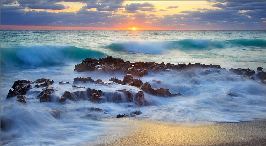 Florida, sunrise, coral cove, ocean, wave, , photo