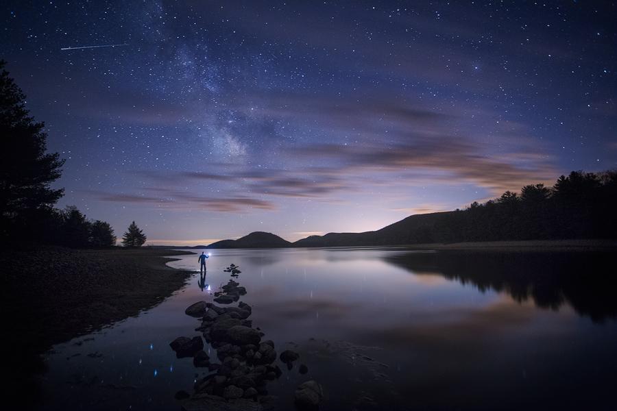 night, stars, milkyway, shooting star, quabbin reservior, Massachusetts, patrick zephyr