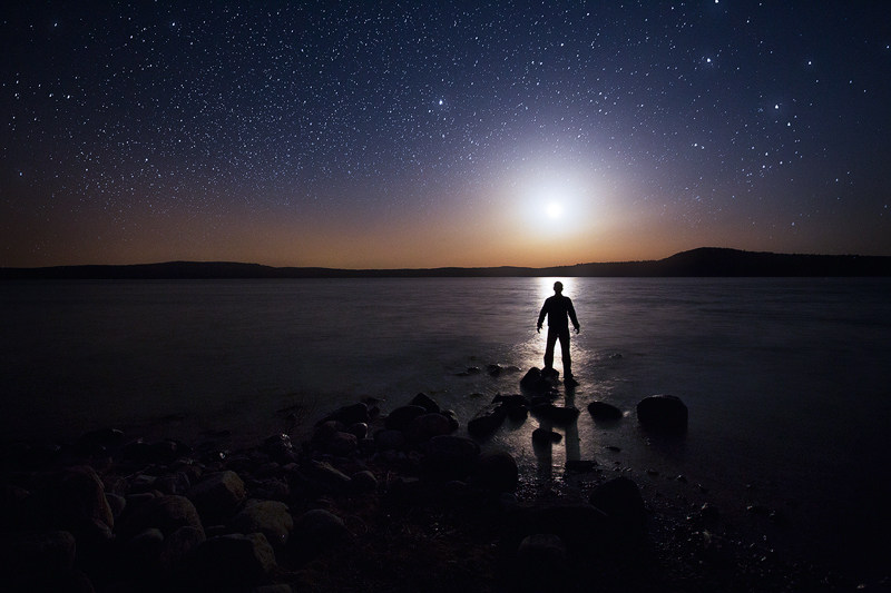 night, moonrise, moon, stars, dark, lake, Quabbin Reservoir, Massachusetts, , photo