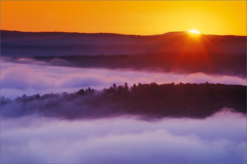 quabbin reservoir, massachusetts, sunrise, orange, fog, photo