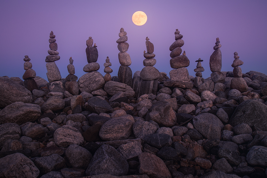 I had to go photograph this months super moon!! I arrived about one hour before the moonrise and entered my rock stacking meditation...