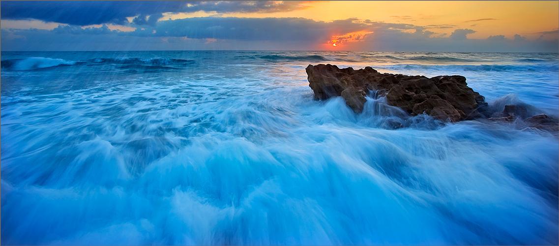 Florida, sunrise, coral cove, ocean, waves,
