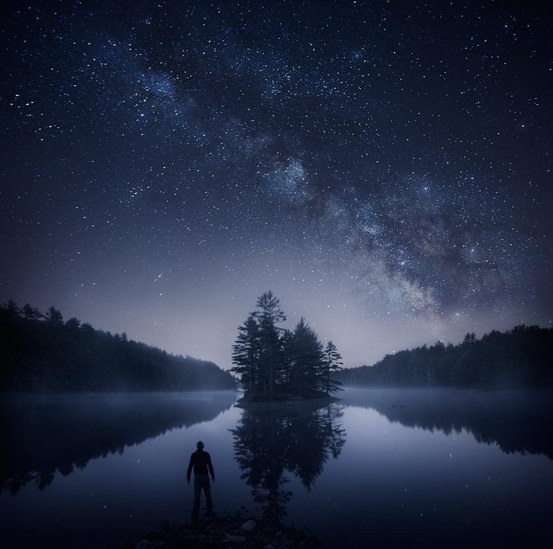 Milky Way, night, stars, Island, Quabbin Reservoir, Blue, Lake, Massachusetts, photo