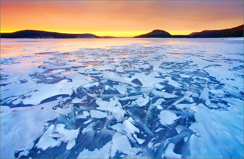 quabbin reservoir, massachusetts, sunrise, cairnes, together, ice, winter, photo
