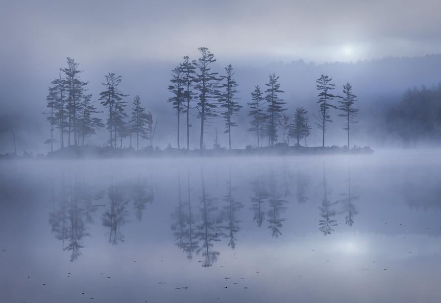 Tully Lake, Royalston, Massachusetts, fog, island, autumn, reflection, landscape photography, nature photography, Patrick Zephyr, photo