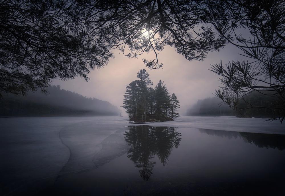 Quabbin Reservoir, Massachusetts, Patrick Zephyr, Moon, Night, stars, island, New England, Photography, photo
