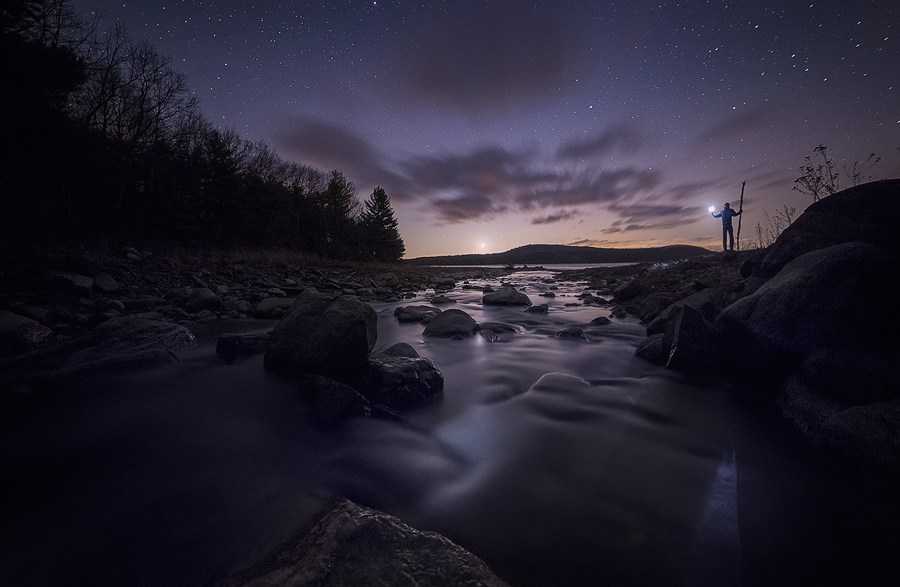 quabbin reservoir, Massachusetts, New Salem, Hop Brook, stream,winter, Patrick Zephyr, night, venus, stars, wanderlust, photo