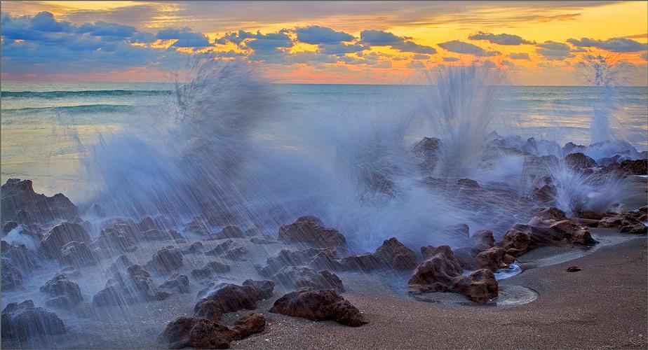 Florida, sunrise, coral cove, ocean, wave, photo