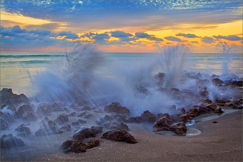 Florida, waves, ocean, surf, sunrise, coral cove