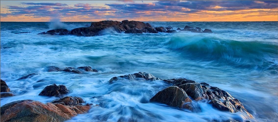 Cohasset, Massachusetts, wave, sunset, ocean,