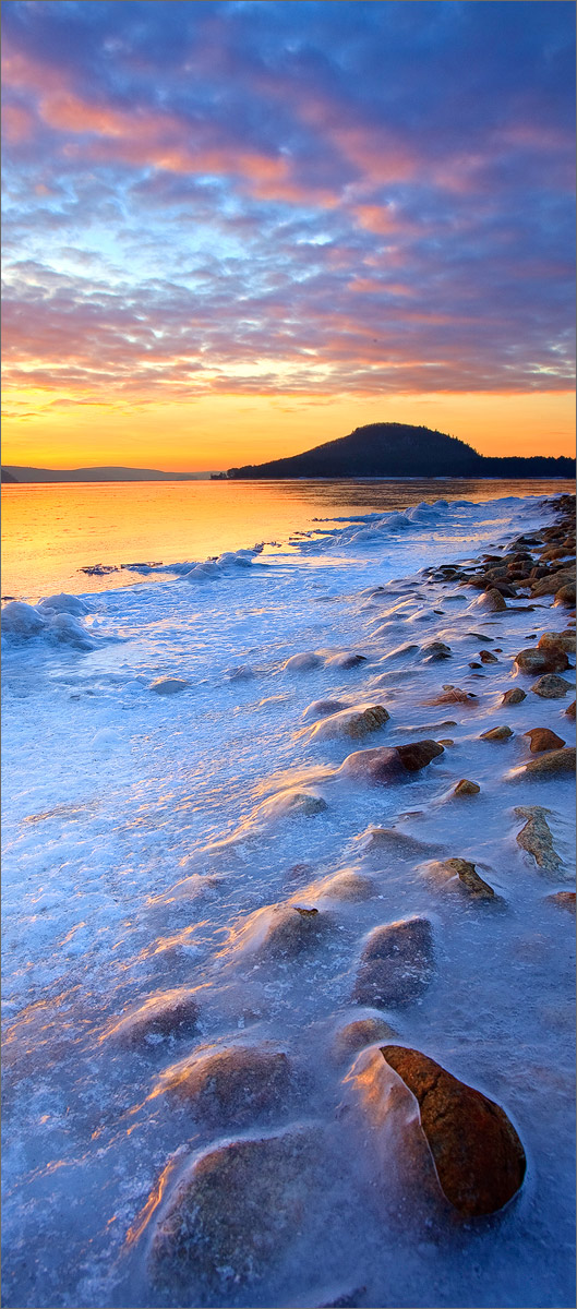 Quabbin reservoir, Massachusetts, ice, winter, snow, sunrise, photo