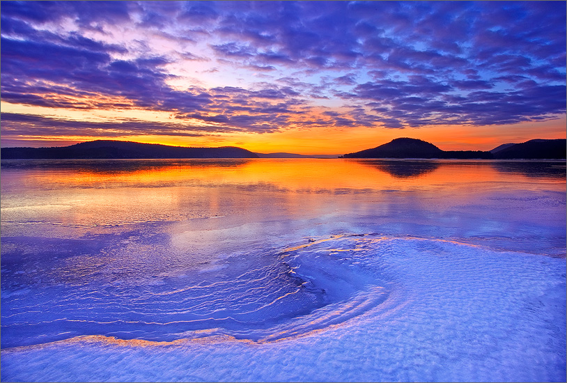 quabbin reservoir, massachusetts, sunrise, cairnes, together, ice, winter