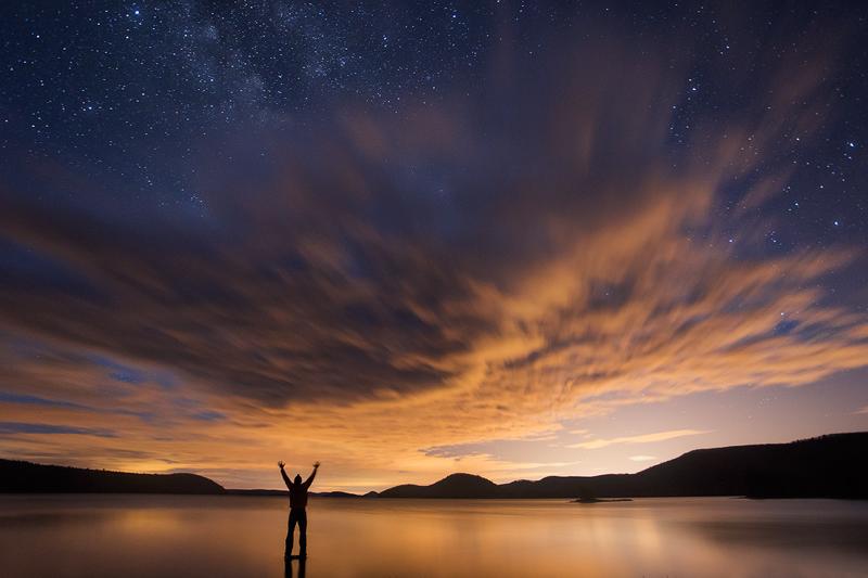 night, Milky Way, clouds, stars, Quabbin Reservoir, Massachusetts, Patrick Zephyr, lake, dark, photo