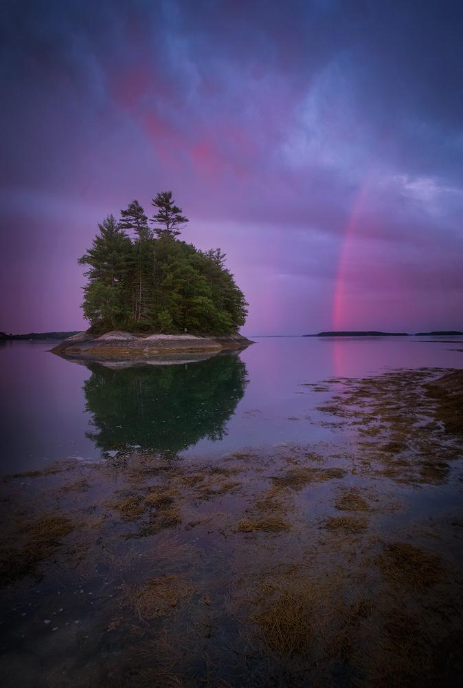 wolf neck sate park, maine, island, dawn, sunrise, rainbow, patrick zephyr