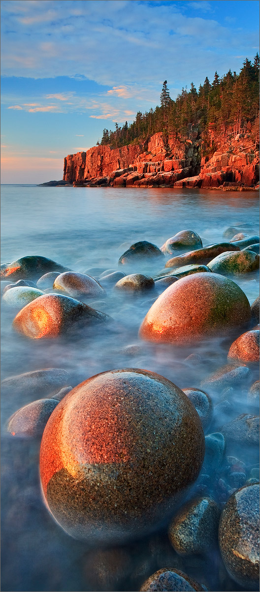 Acadia national park, Maine, cobblestones, blue, ocean, sunrise, photo