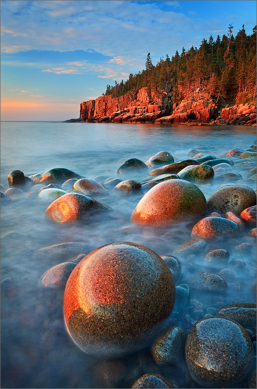 Acadia national park, Maine, otter cliffs, rocks, blue, sunrise, photo
